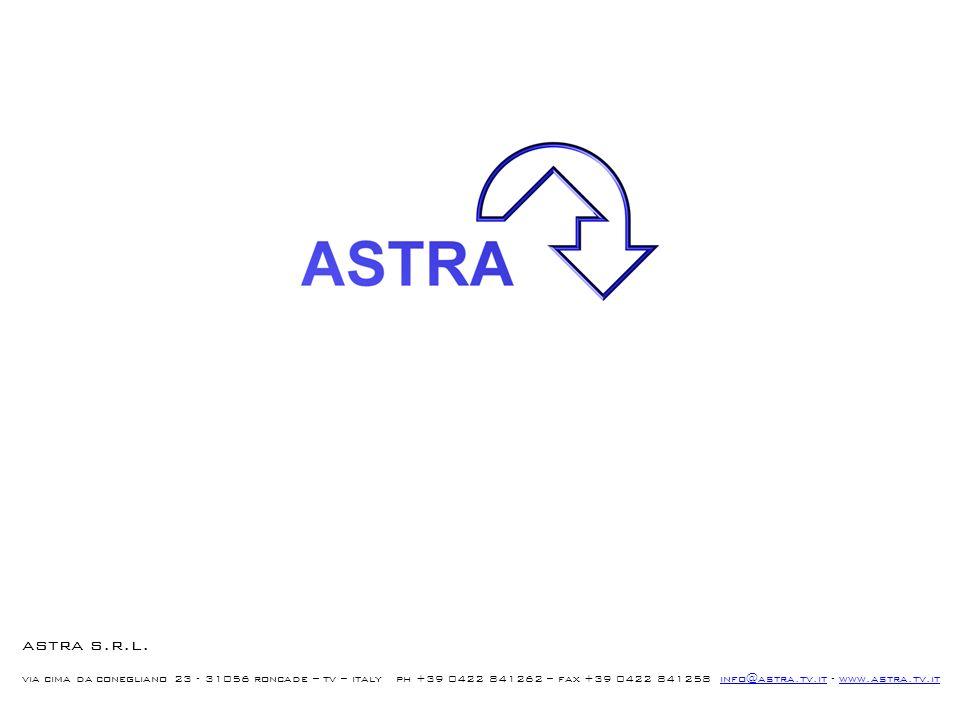 astra s.r.l. via cima da conegliano 23 - 31056 roncade – tv – italy ph +39 0422 841262 – fax +39 0422 841258 info@astra.tv.it - www.astra.tv.itinfo@as