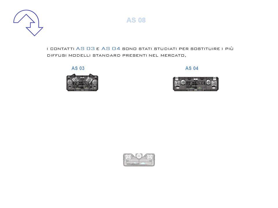 i contatti AS 03 e AS 04 sono stati studiati per sostituire i più diffusi modelli standard presenti nel mercato, il contatto AS 08 è la nostra nuova proposta (brev.