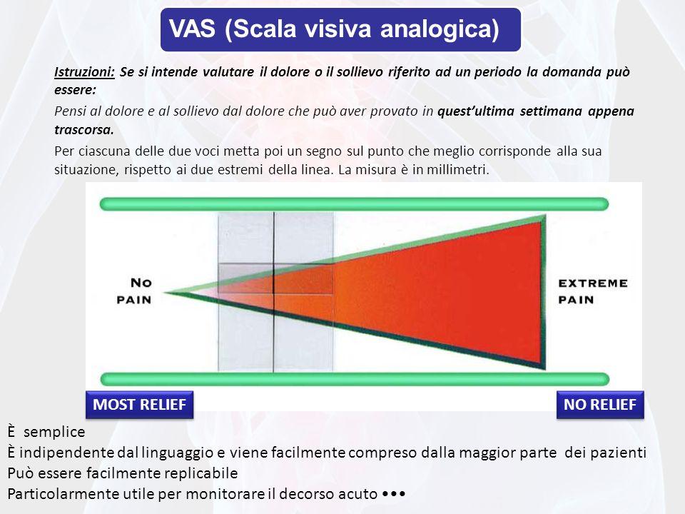 VAS (Scala visiva analogica) Istruzioni: Se si intende valutare il dolore o il sollievo riferito ad un periodo la domanda può essere: Pensi al dolore