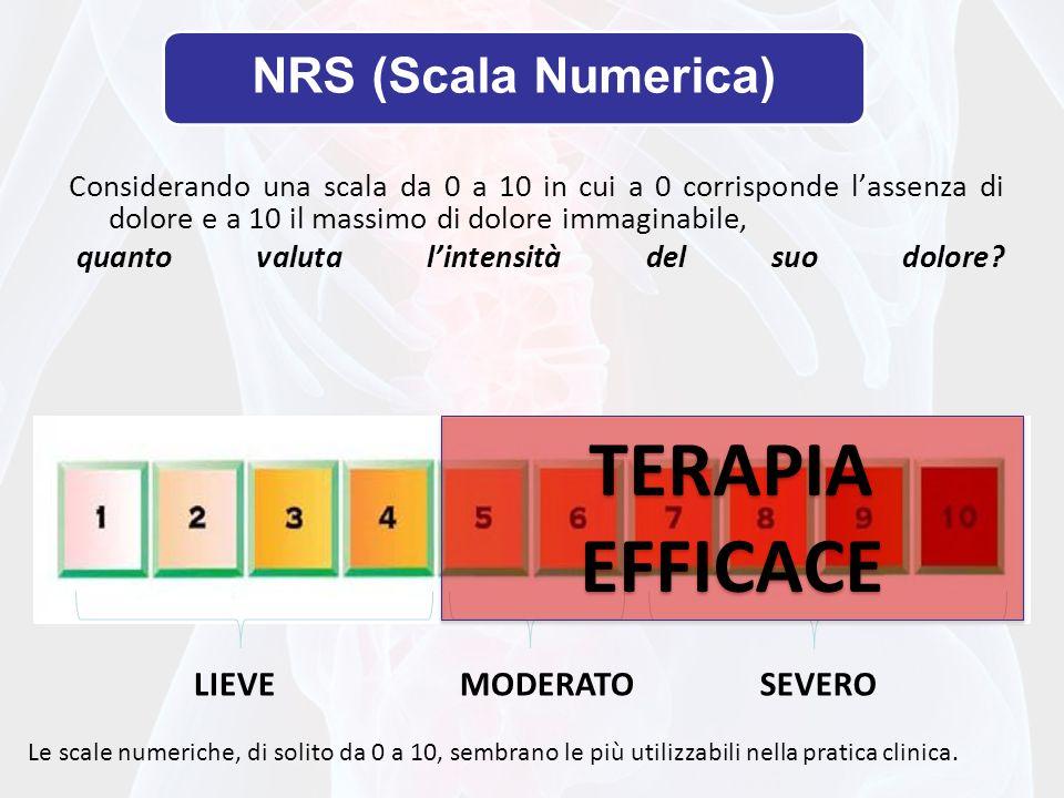 NRS (Scala Numerica) Considerando una scala da 0 a 10 in cui a 0 corrisponde lassenza di dolore e a 10 il massimo di dolore immaginabile, quanto valut