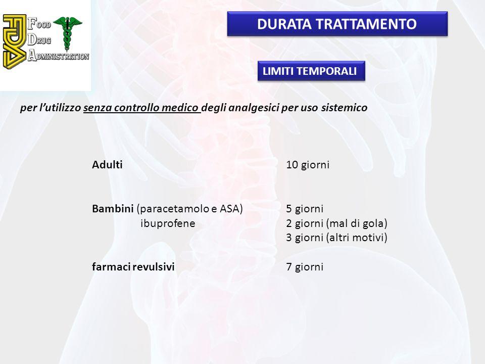 per lutilizzo senza controllo medico degli analgesici per uso sistemico Adulti10 giorni Bambini (paracetamolo e ASA)5 giorni ibuprofene2 giorni (mal d