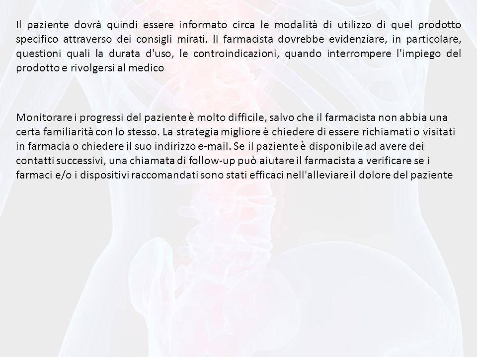 Il paziente dovrà quindi essere informato circa le modalità di utilizzo di quel prodotto specifico attraverso dei consigli mirati. Il farmacista dovre