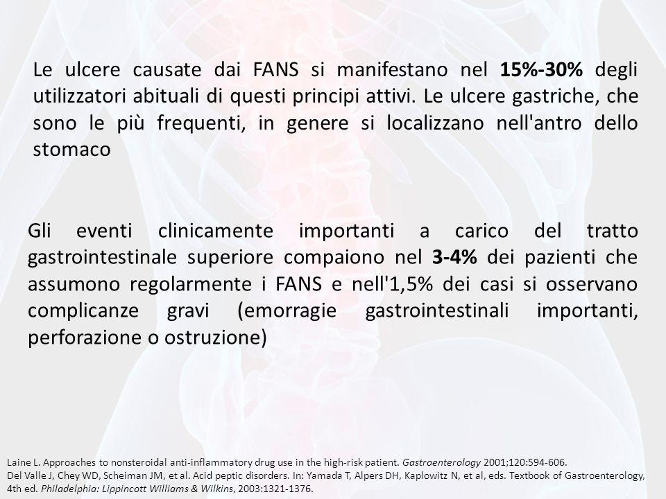 Le ulcere causate dai FANS si manifestano nel 15%-30% degli utilizzatori abituali di questi principi attivi. Le ulcere gastriche, che sono le più freq