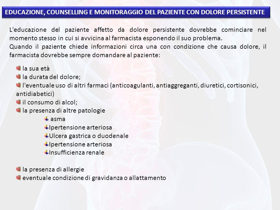 EDUCAZIONE, COUNSELLING E MONITORAGGIO DEL PAZIENTE CON DOLORE PERSISTENTE L'educazione del paziente affetto da dolore persistente dovrebbe cominciare