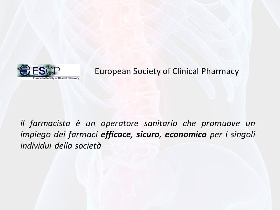il farmacista è un operatore sanitario che promuove un impiego dei farmaci efficace, sicuro, economico per i singoli individui della società European Society of Clinical Pharmacy