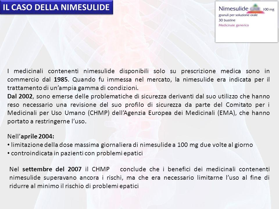 IL CASO DELLA NIMESULIDE I medicinali contenenti nimesulide disponibili solo su prescrizione medica sono in commercio dal 1985. Quando fu immessa nel