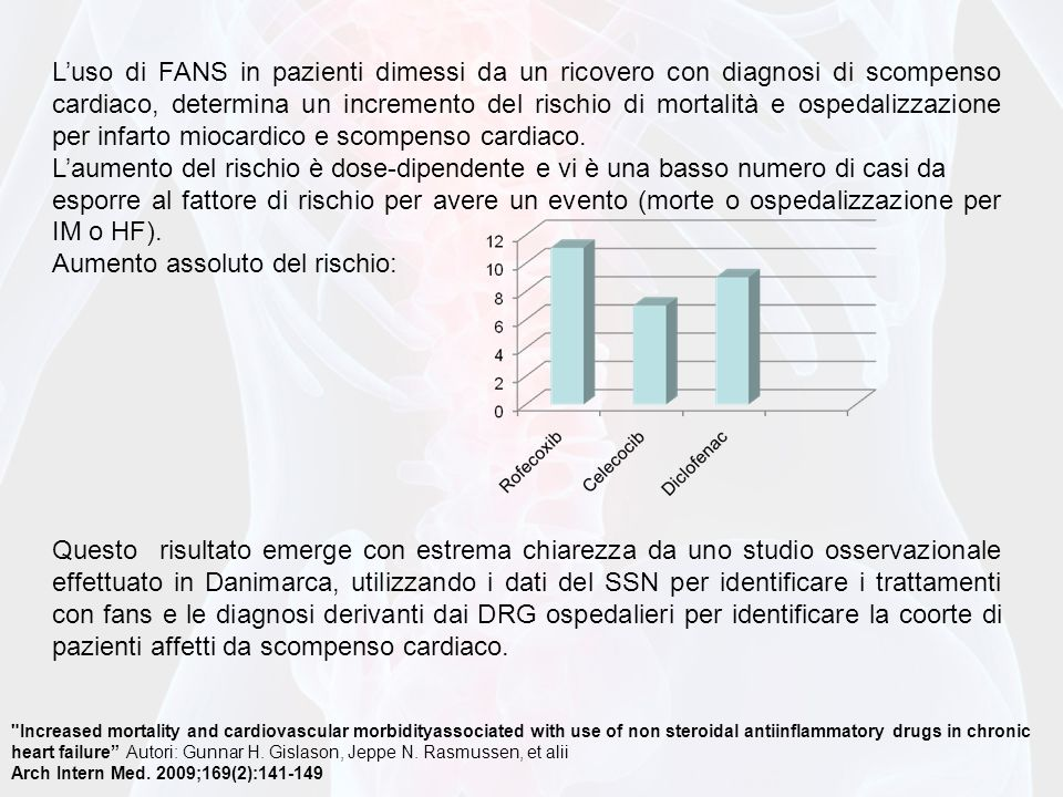 Increased mortality and cardiovascular morbidityassociated with use of non steroidal antiinflammatory drugs in chronic heart failure Autori: Gunnar H.