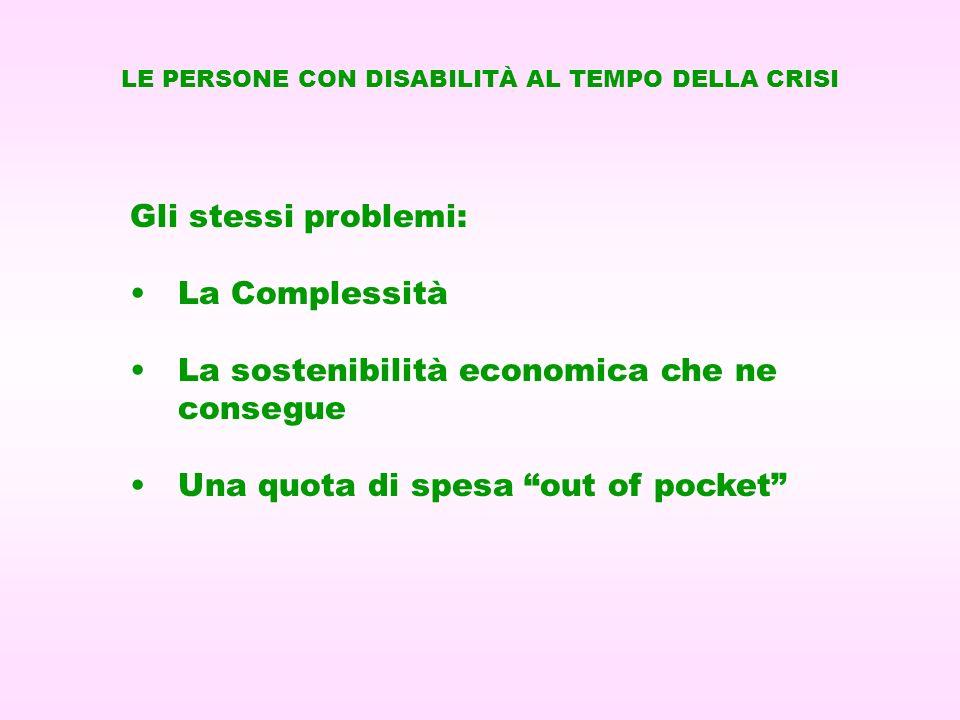 Gli stessi problemi: La Complessità La sostenibilità economica che ne consegue Una quota di spesa out of pocket LE PERSONE CON DISABILITÀ AL TEMPO DEL
