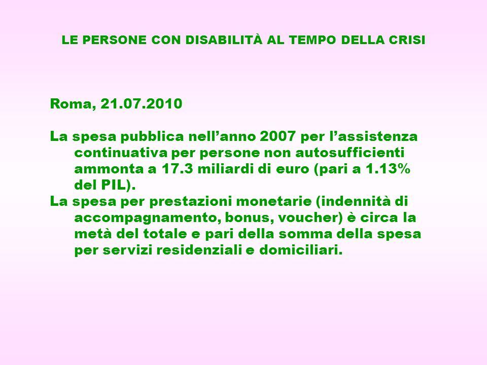 Roma, 21.07.2010 La spesa pubblica nellanno 2007 per lassistenza continuativa per persone non autosufficienti ammonta a 17.3 miliardi di euro (pari a