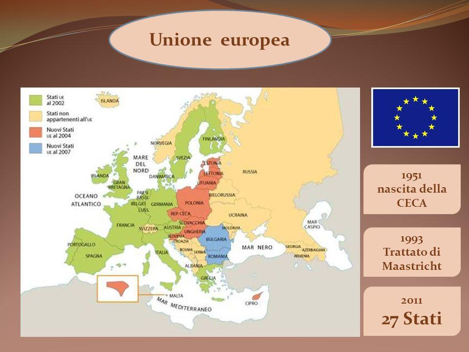 Unione europea 1993 Trattato di Maastricht 2011 27 Stati 1951 nascita della CECA