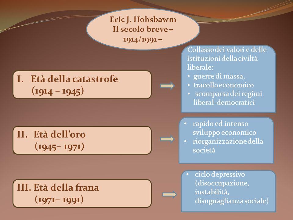 I. Età della catastrofe (1914 – 1945) II.Età delloro (1945– 1971) III.Età della frana (1971– 1991) Eric J. Hobsbawm Il secolo breve – 1914/1991 – Coll