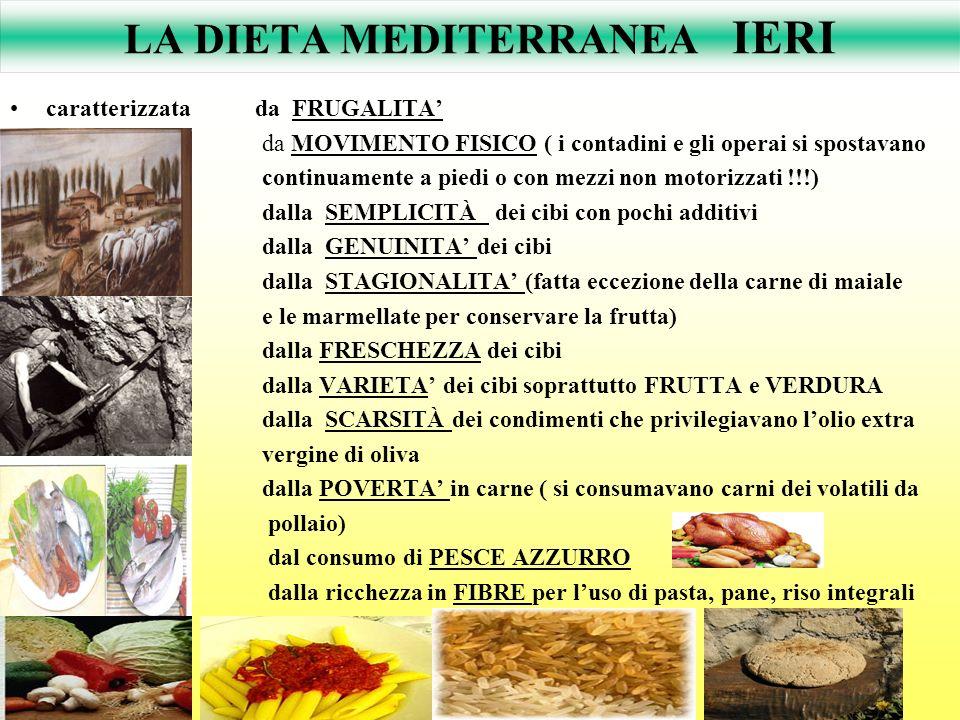 LA DIETA MEDITERRANEA IERI caratterizzata da FRUGALITA da MOVIMENTO FISICO ( i contadini e gli operai si spostavano continuamente a piedi o con mezzi