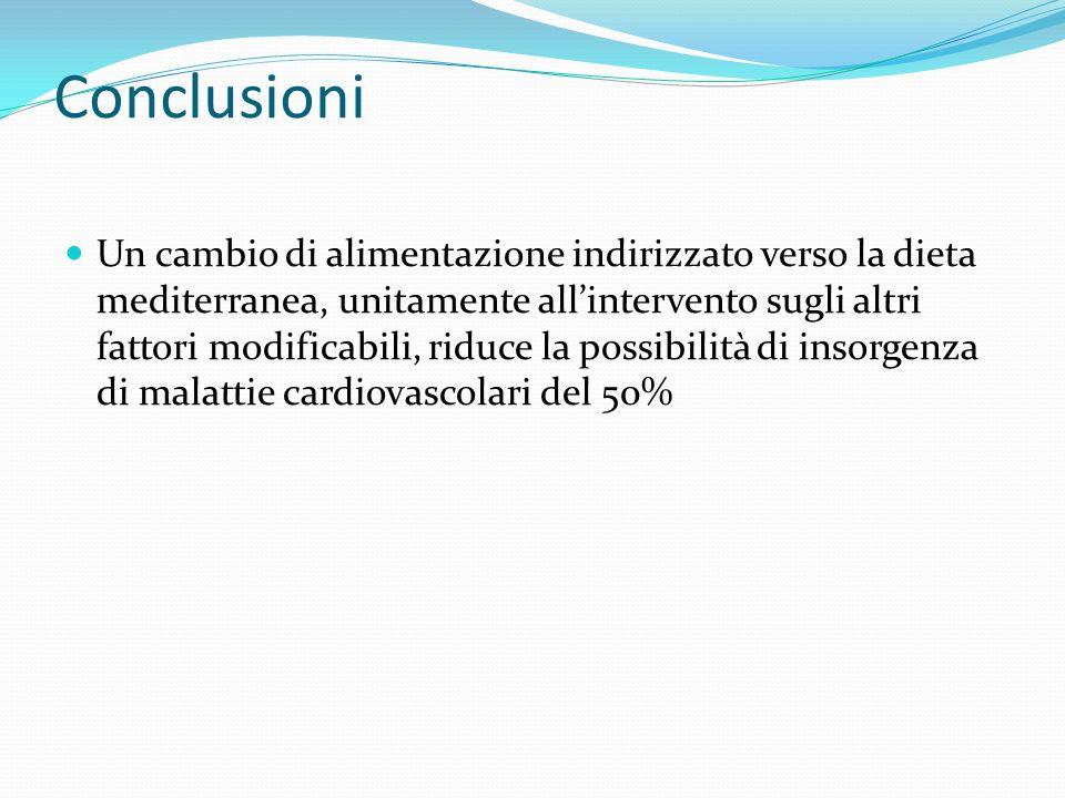 Conclusioni Un cambio di alimentazione indirizzato verso la dieta mediterranea, unitamente allintervento sugli altri fattori modificabili, riduce la p