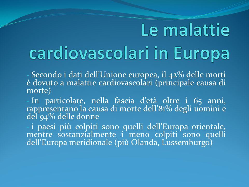 - Secondo i dati dellUnione europea, il 42% delle morti è dovuto a malattie cardiovascolari (principale causa di morte) - In particolare, nella fascia