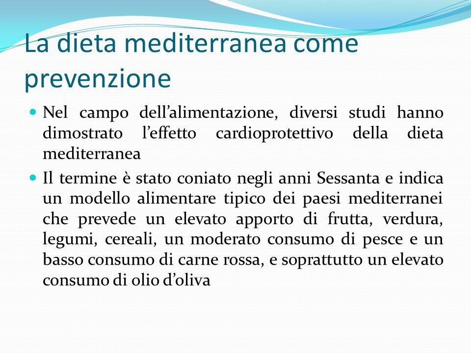 La dieta mediterranea come prevenzione Nel campo dellalimentazione, diversi studi hanno dimostrato leffetto cardioprotettivo della dieta mediterranea