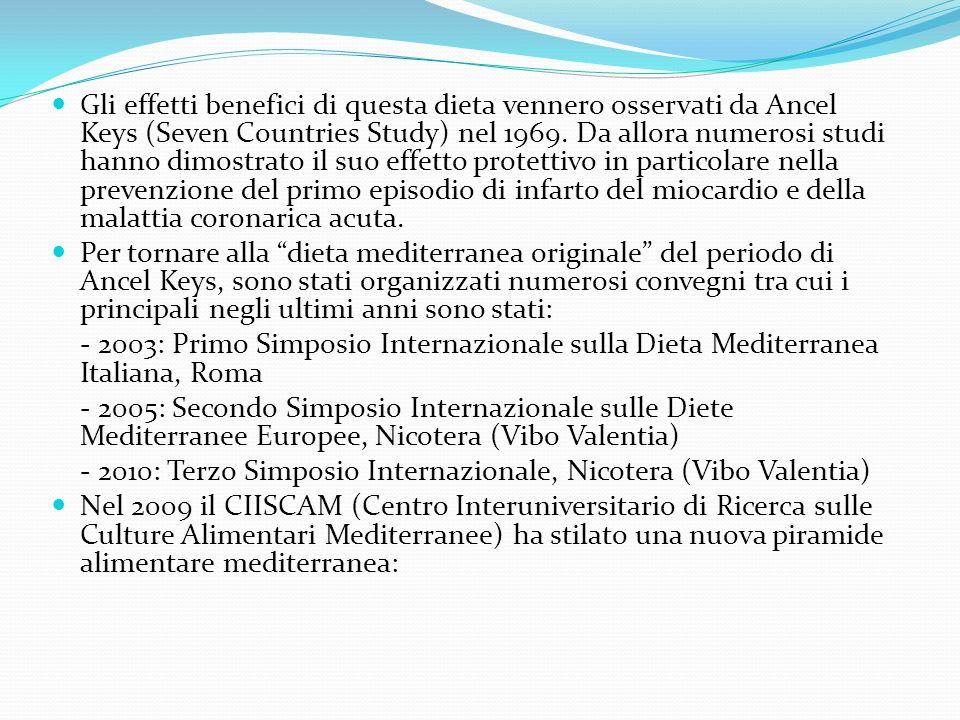 Gli effetti benefici di questa dieta vennero osservati da Ancel Keys (Seven Countries Study) nel 1969. Da allora numerosi studi hanno dimostrato il su