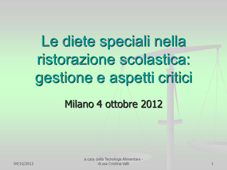 04/10/2012 a cura della Tecnologa Alimentare - dr.ssa Cristina Valli1 Le diete speciali nella ristorazione scolastica: gestione e aspetti critici Mila