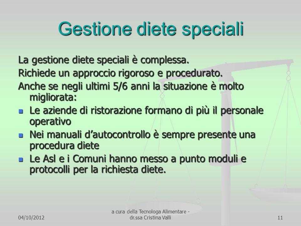 04/10/2012 a cura della Tecnologa Alimentare - dr.ssa Cristina Valli11 Gestione diete speciali La gestione diete speciali è complessa. Richiede un app