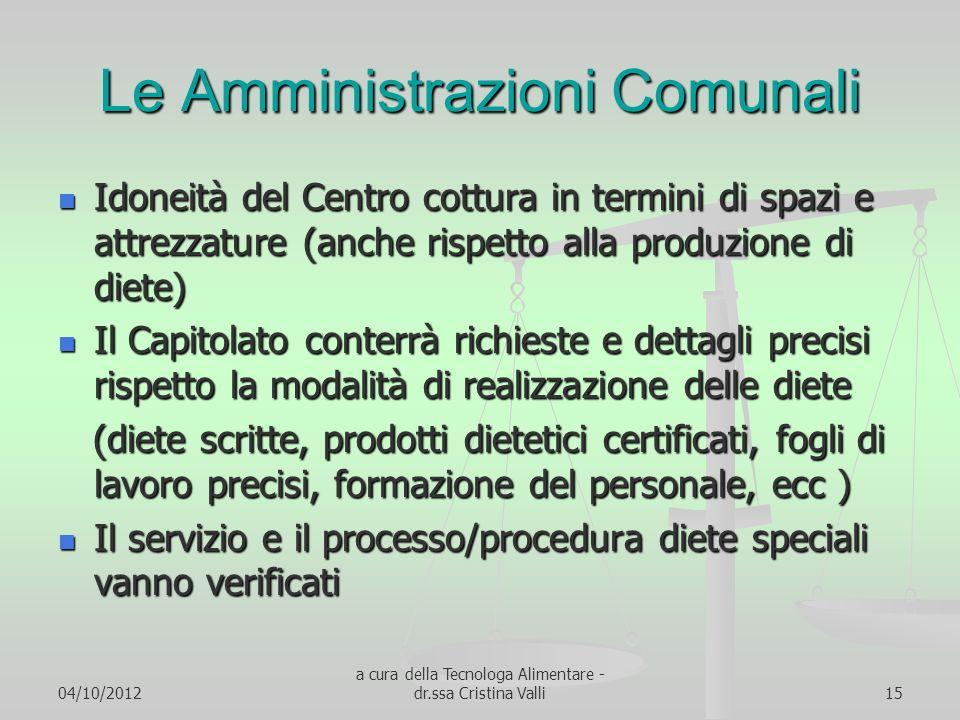 04/10/2012 a cura della Tecnologa Alimentare - dr.ssa Cristina Valli15 Le Amministrazioni Comunali Idoneità del Centro cottura in termini di spazi e a