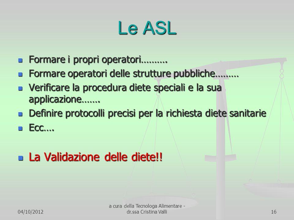 04/10/2012 a cura della Tecnologa Alimentare - dr.ssa Cristina Valli16 Le ASL Formare i propri operatori………. Formare i propri operatori………. Formare op