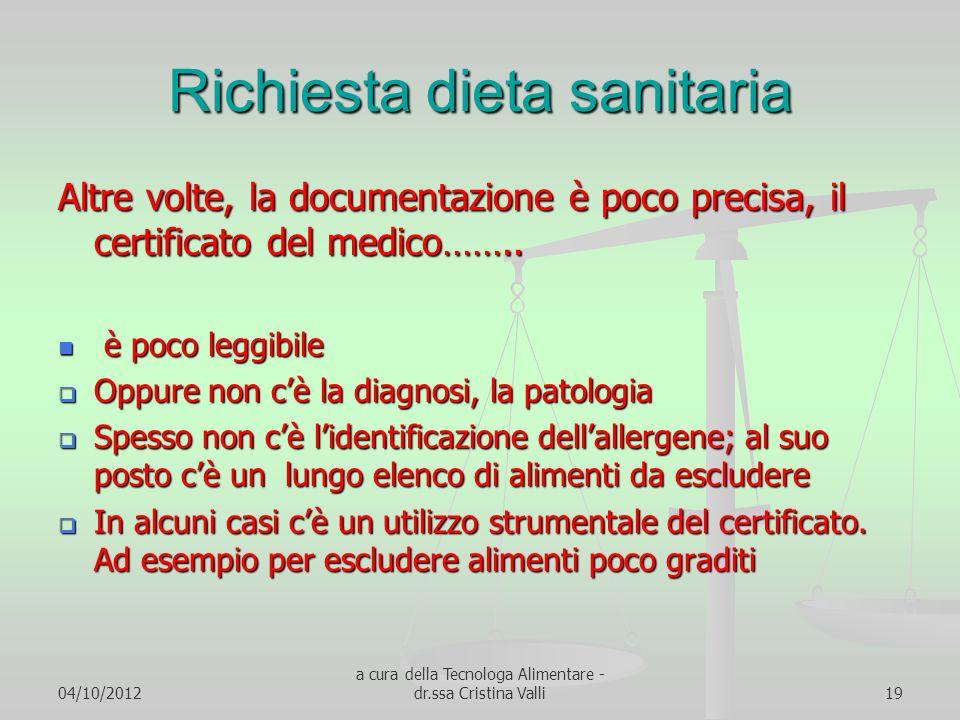 04/10/2012 a cura della Tecnologa Alimentare - dr.ssa Cristina Valli19 Richiesta dieta sanitaria Altre volte, la documentazione è poco precisa, il cer