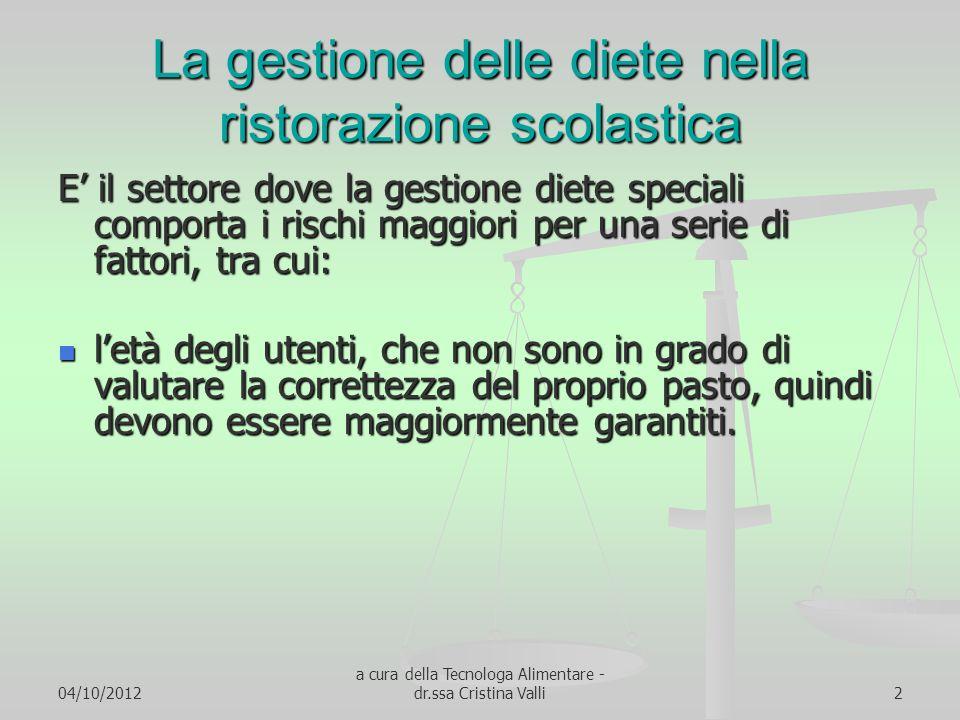 04/10/2012 a cura della Tecnologa Alimentare - dr.ssa Cristina Valli2 La gestione delle diete nella ristorazione scolastica E il settore dove la gesti