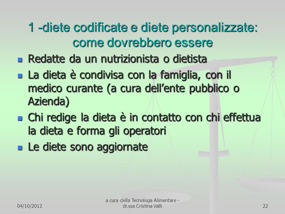 04/10/2012 a cura della Tecnologa Alimentare - dr.ssa Cristina Valli22 1 -diete codificate e diete personalizzate: come dovrebbero essere Redatte da u