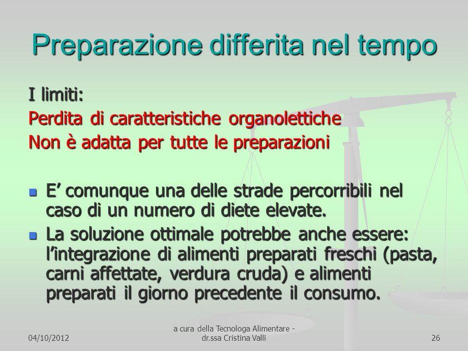 04/10/2012 a cura della Tecnologa Alimentare - dr.ssa Cristina Valli26 Preparazione differita nel tempo I limiti: Perdita di caratteristiche organolet