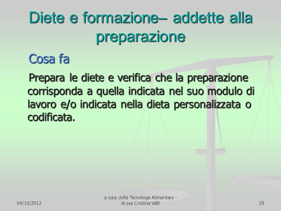 04/10/2012 a cura della Tecnologa Alimentare - dr.ssa Cristina Valli29 Diete e formazione– addette alla preparazione Cosa fa Cosa fa Prepara le diete