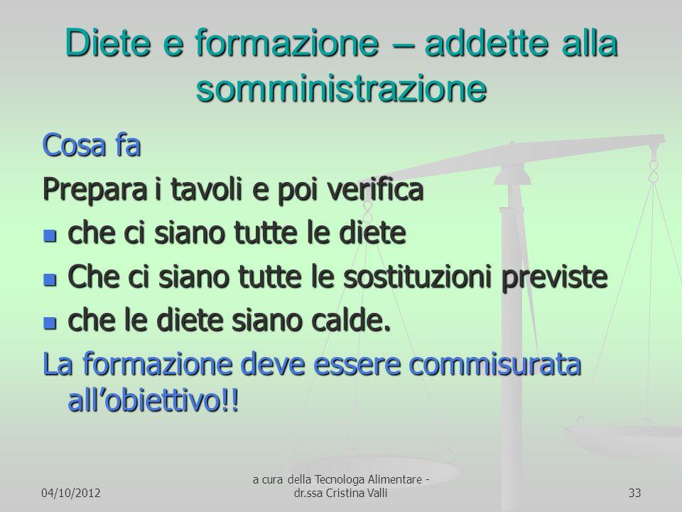 04/10/2012 a cura della Tecnologa Alimentare - dr.ssa Cristina Valli33 Diete e formazione – addette alla somministrazione Cosa fa Prepara i tavoli e p
