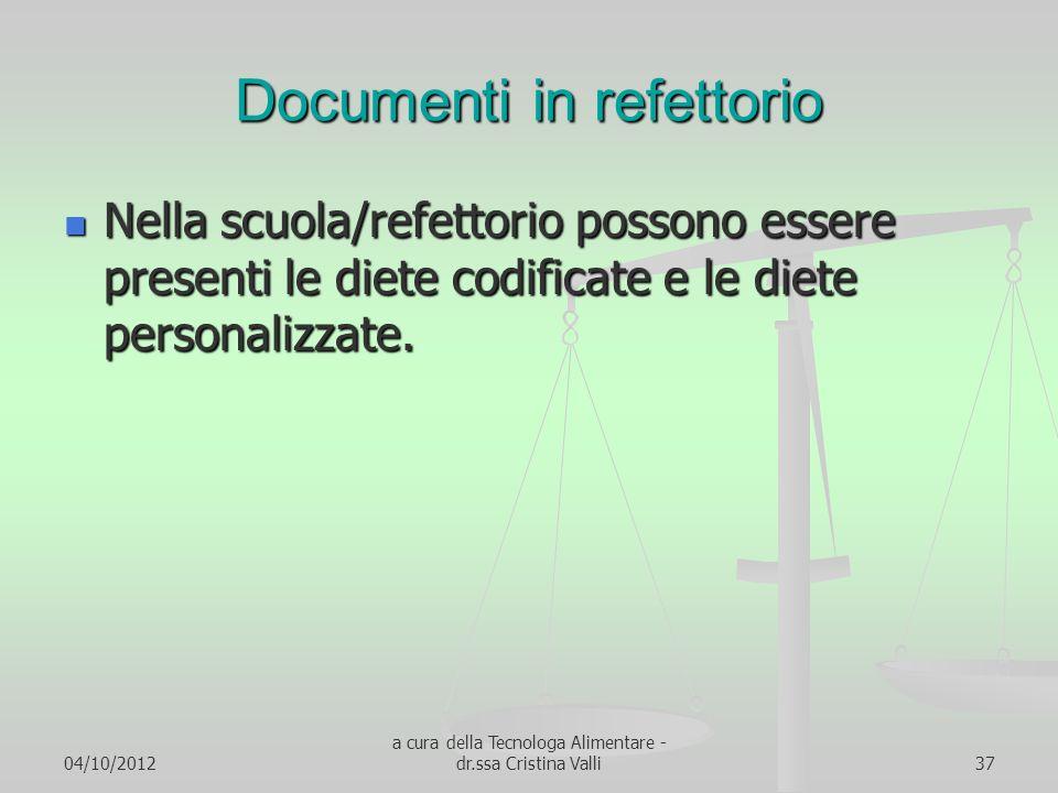 04/10/2012 a cura della Tecnologa Alimentare - dr.ssa Cristina Valli37 Documenti in refettorio Nella scuola/refettorio possono essere presenti le diet