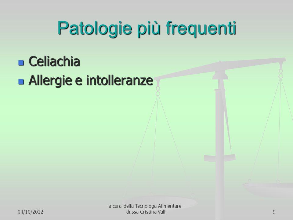 04/10/2012 a cura della Tecnologa Alimentare - dr.ssa Cristina Valli9 Patologie più frequenti Celiachia Celiachia Allergie e intolleranze Allergie e i