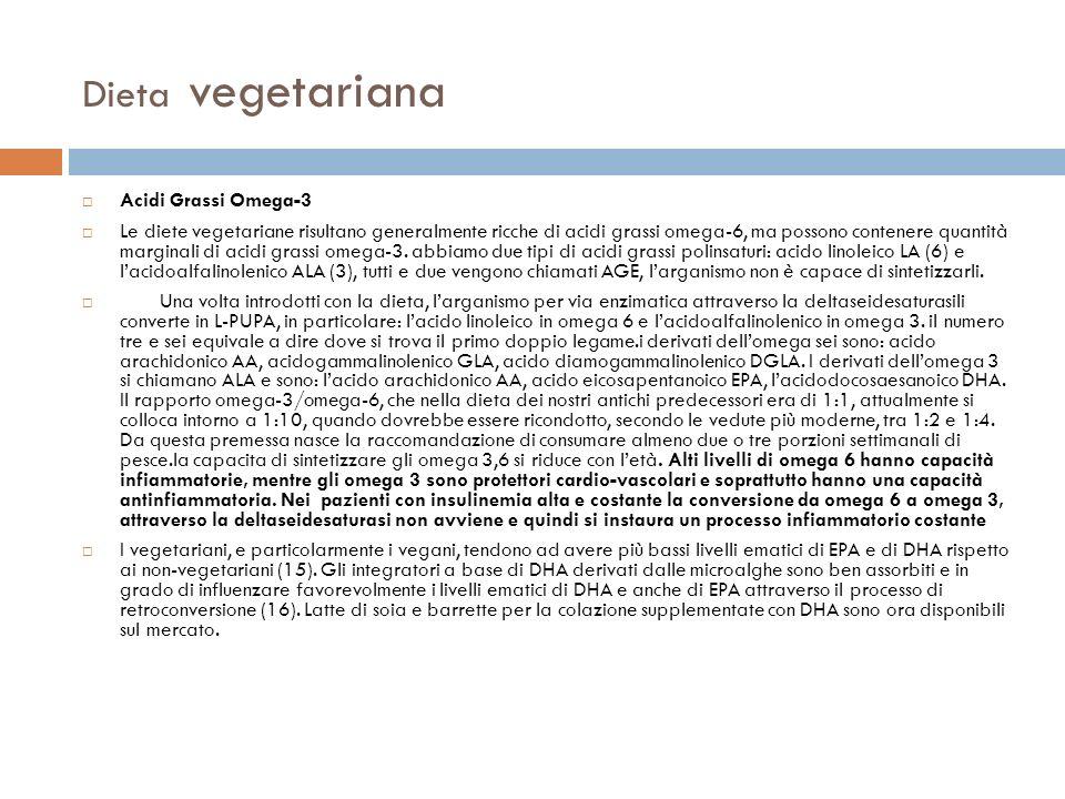 Dieta vegetariana Acidi Grassi Omega-3 Le diete vegetariane risultano generalmente ricche di acidi grassi omega-6, ma possono contenere quantità margi