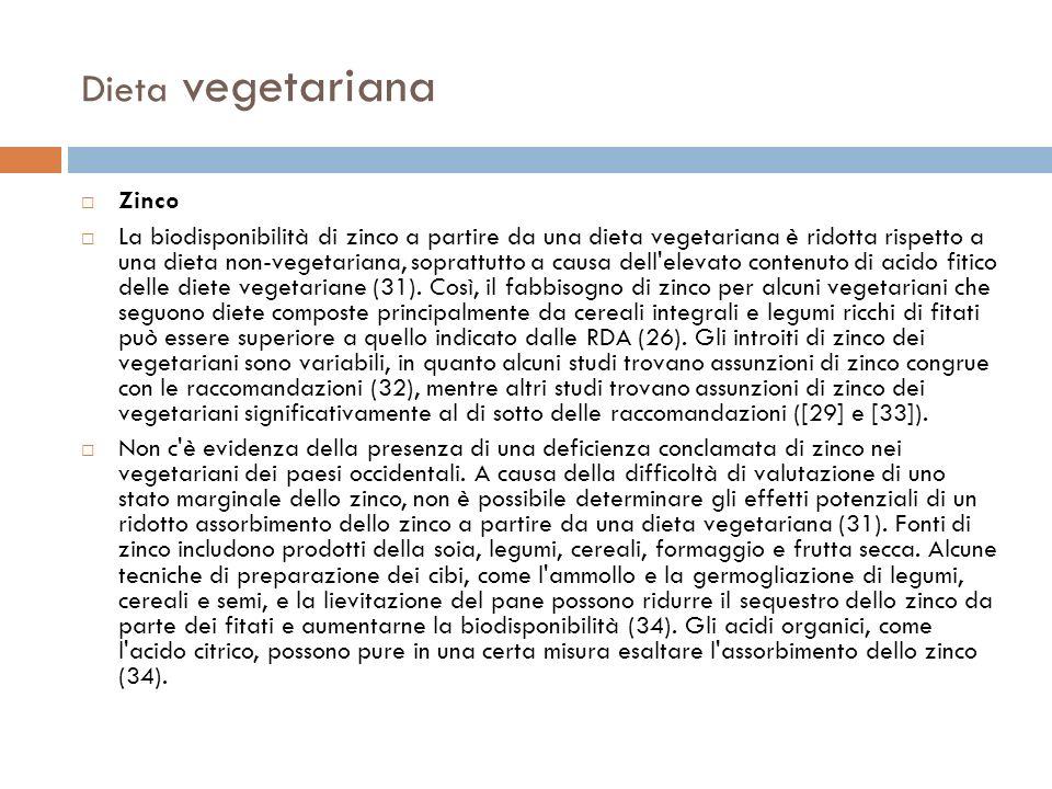 Dieta vegetariana Zinco La biodisponibilità di zinco a partire da una dieta vegetariana è ridotta rispetto a una dieta non-vegetariana, soprattutto a