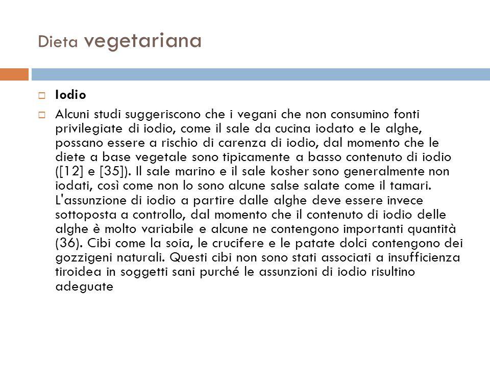 Dieta vegetariana Iodio Alcuni studi suggeriscono che i vegani che non consumino fonti privilegiate di iodio, come il sale da cucina iodato e le alghe