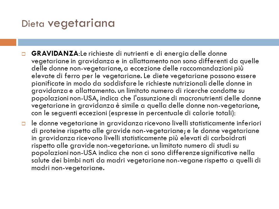 Dieta vegetariana GRAVIDANZA:Le richieste di nutrienti e di energia delle donne vegetariane in gravidanza e in allattamento non sono differenti da que