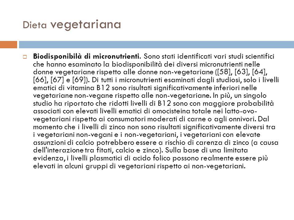 Dieta vegetariana Biodisponibilà di micronutrienti. Sono stati identificati vari studi scientifici che hanno esaminato la biodisponibilità dei diversi