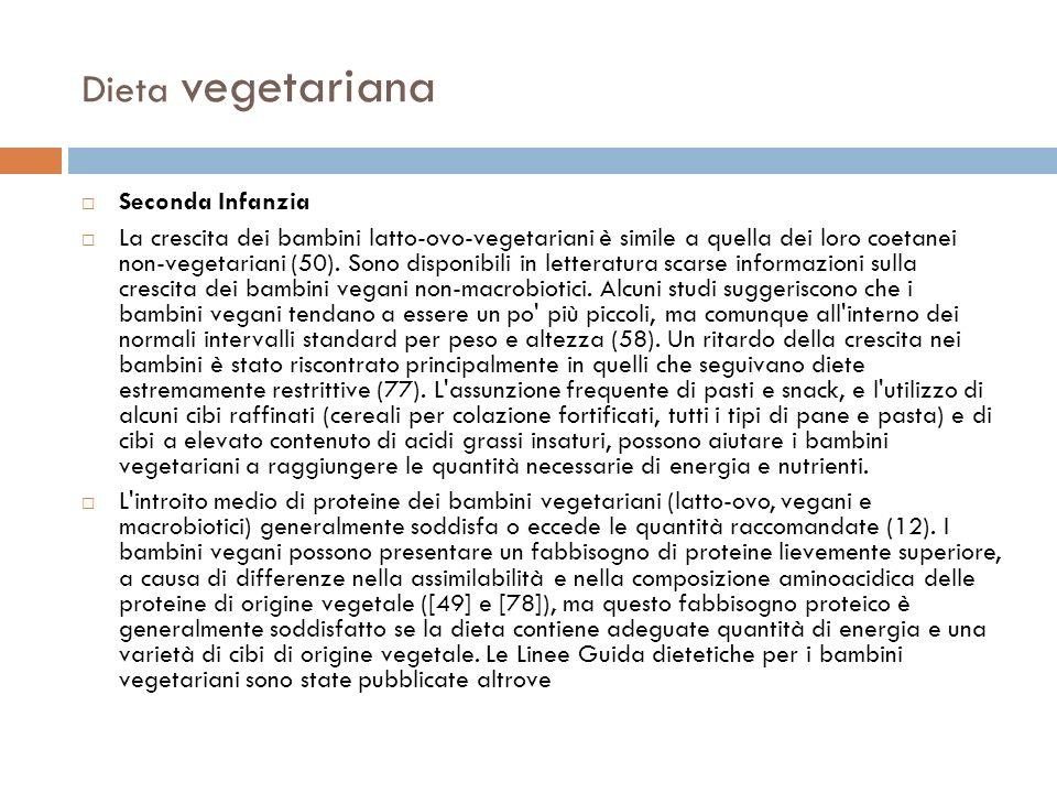 Dieta vegetariana Seconda Infanzia La crescita dei bambini latto-ovo-vegetariani è simile a quella dei loro coetanei non-vegetariani (50). Sono dispon