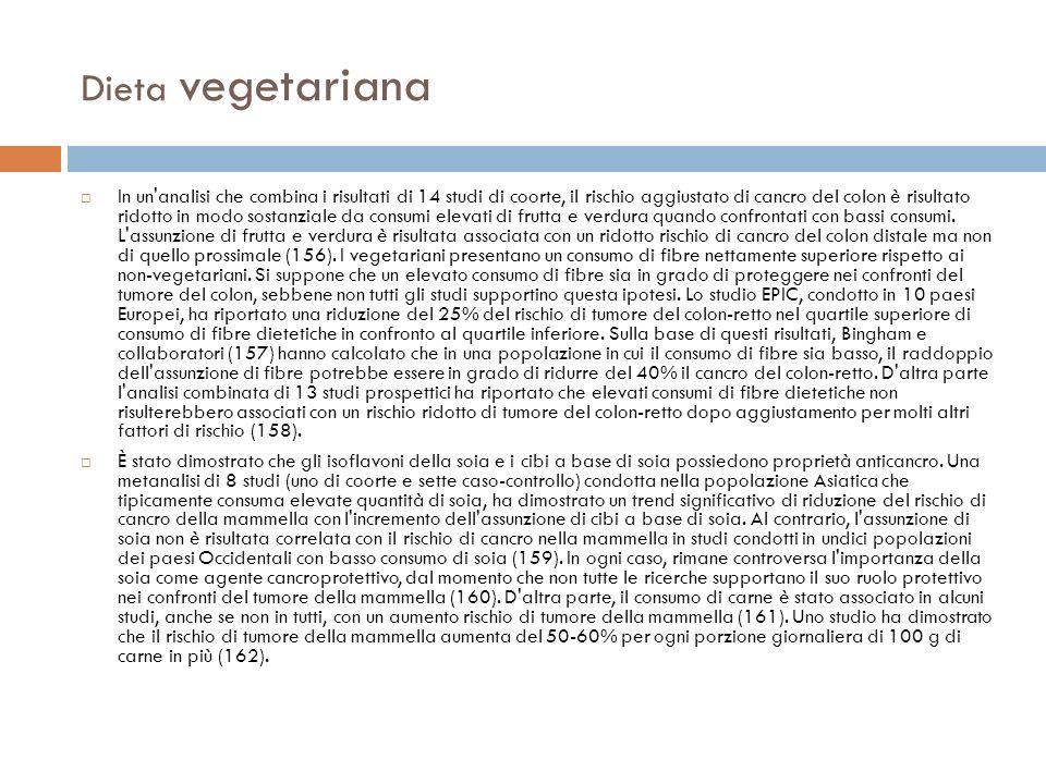 Dieta vegetariana In un'analisi che combina i risultati di 14 studi di coorte, il rischio aggiustato di cancro del colon è risultato ridotto in modo s