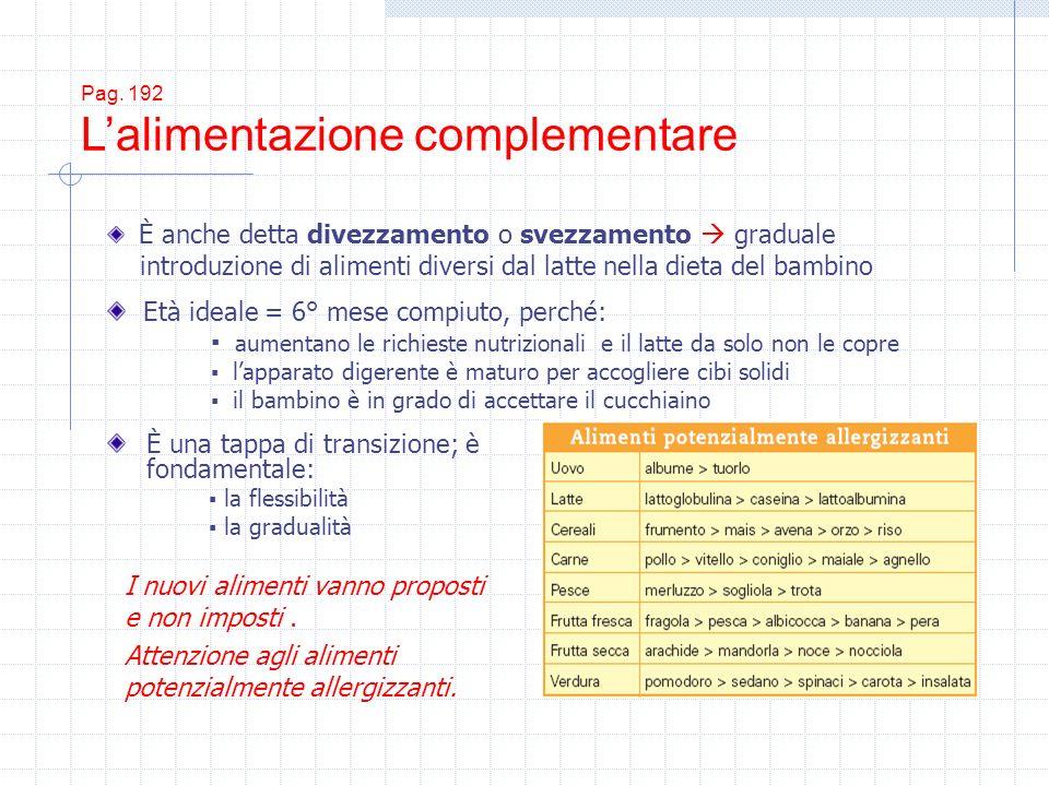 Pag. 192 Lalimentazione complementare È una tappa di transizione; è fondamentale: la flessibilità la gradualità È anche detta divezzamento o svezzamen
