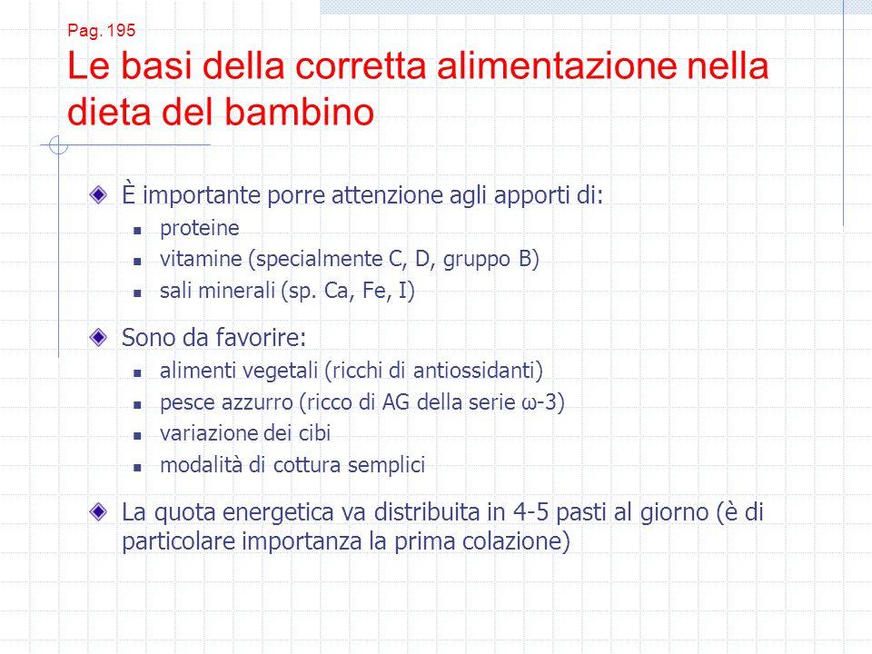 Pag. 195 Le basi della corretta alimentazione nella dieta del bambino È importante porre attenzione agli apporti di: proteine vitamine (specialmente C