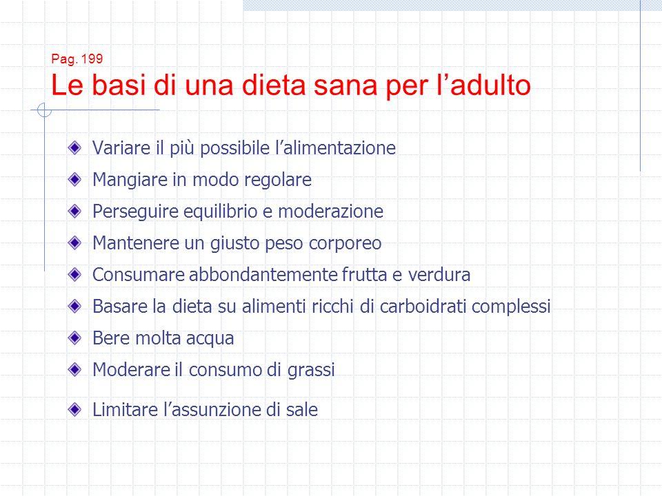 Pag. 199 Le basi di una dieta sana per ladulto Variare il più possibile lalimentazione Mangiare in modo regolare Perseguire equilibrio e moderazione M