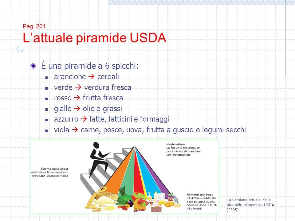 Pag. 201 Lattuale piramide USDA È una piramide a 6 spicchi: arancione cereali verde verdura fresca rosso frutta fresca giallo olio e grassi azzurro la