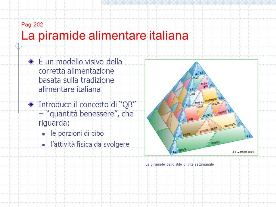Pag. 202 La piramide alimentare italiana È un modello visivo della corretta alimentazione basata sulla tradizione alimentare italiana Introduce il con
