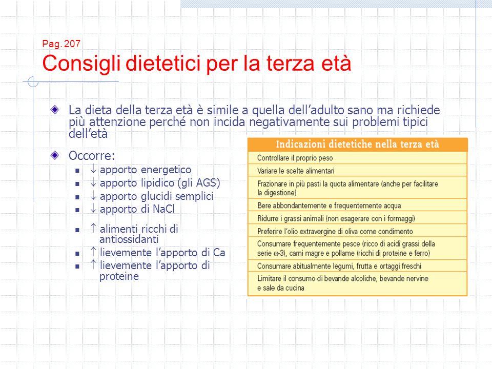 Pag. 207 Consigli dietetici per la terza età Occorre: apporto energetico apporto lipidico (gli AGS) apporto glucidi semplici apporto di NaCl alimenti