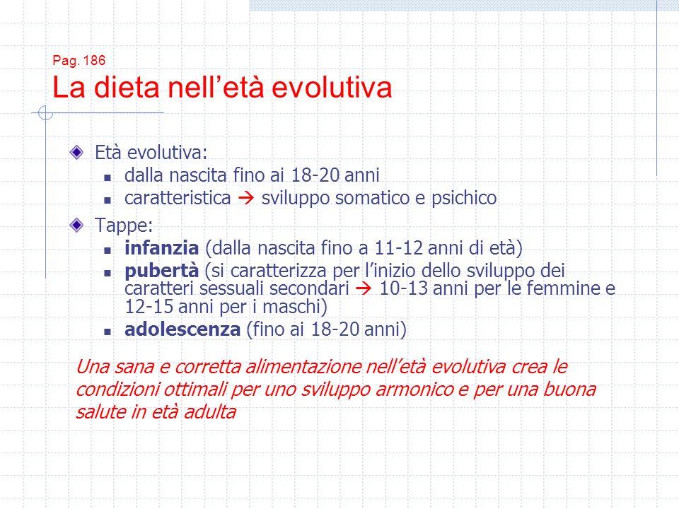 Pag. 186 La dieta nelletà evolutiva Età evolutiva: dalla nascita fino ai 18-20 anni caratteristica sviluppo somatico e psichico Tappe: infanzia (dalla