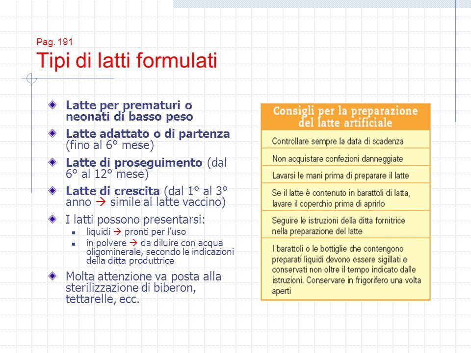 Pag. 191 Tipi di latti formulati Latte per prematuri o neonati di basso peso Latte adattato o di partenza (fino al 6° mese) Latte di proseguimento (da