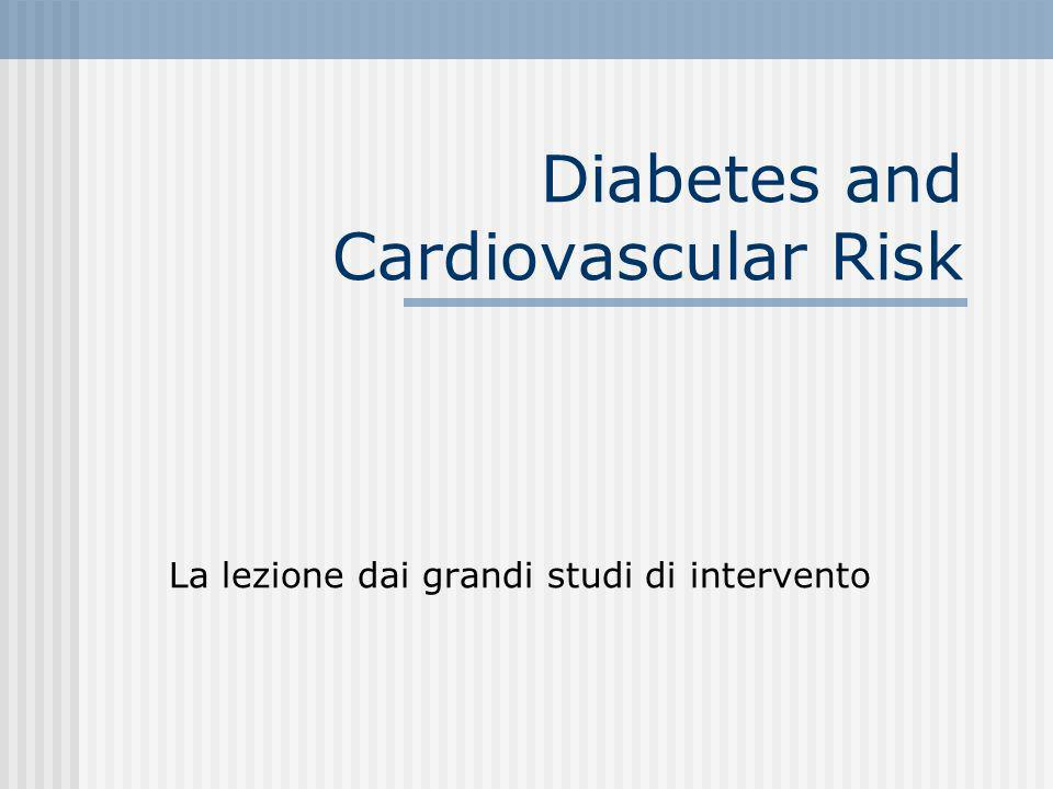 Rischio di eventi cardiovascolari a 8 anni nel diabete (Framingham Study)