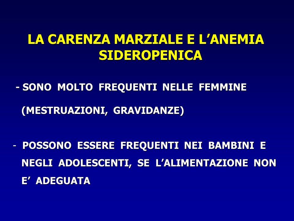 LA CARENZA MARZIALE E LANEMIA SIDEROPENICA - SONO MOLTO FREQUENTI NELLE FEMMINE - SONO MOLTO FREQUENTI NELLE FEMMINE (MESTRUAZIONI, GRAVIDANZE) (MESTR