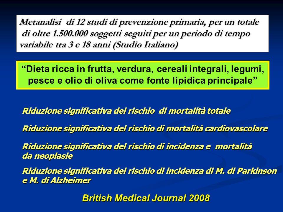 Katherine Esposito et al. JAMA, September 22/29, 2004Vol 292, No. 12 Mediterranean-style diet ricca in frutta, verdura, cereali integrali, noci e olio